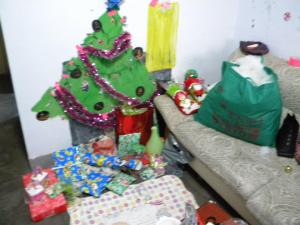 Christmas 2011 in Linyi, China. Yes it's painted directly on my wall with decorations duct taped on to it. I do Christmas in style.