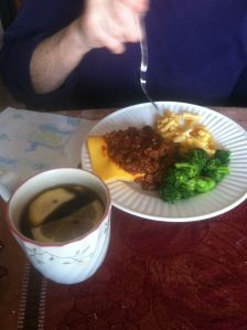 Sloppy Joes, home grown broccoli, and my step-mom's favourite drink ~ hot Dr. Pepper with lemon. It's actually a very good drink.