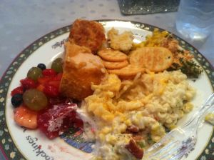 EPIC!!! Left to Right: raspberry jello, fresh fruit salad, chicken cordon blue, cheddar biscuits, buttered sweet corn, salmon dip w/ buttered crackers, spicy noodle salad, bacon & cream corn casserole, and chest potatoes